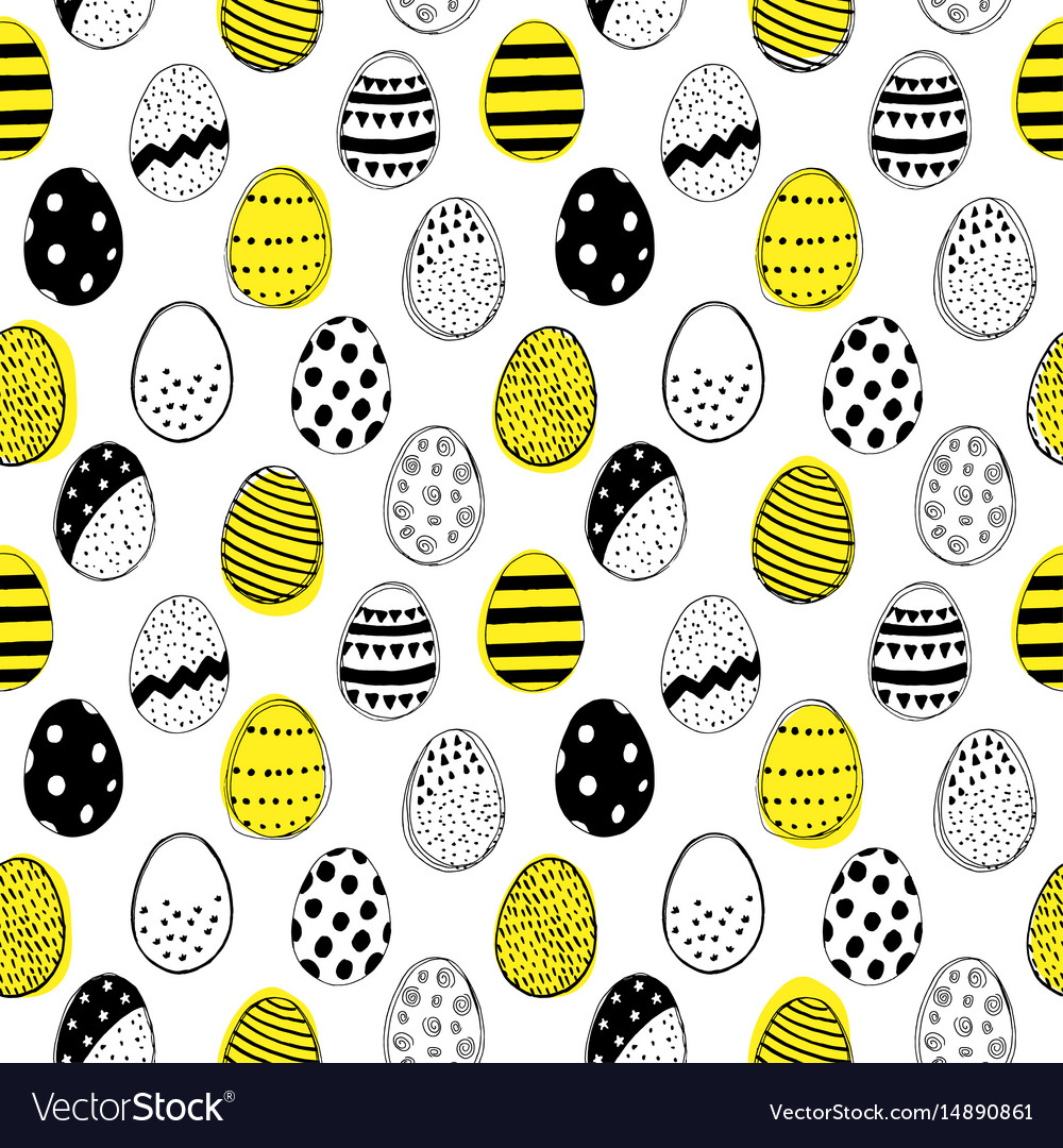 Seamless pattern with easter eggs doodles