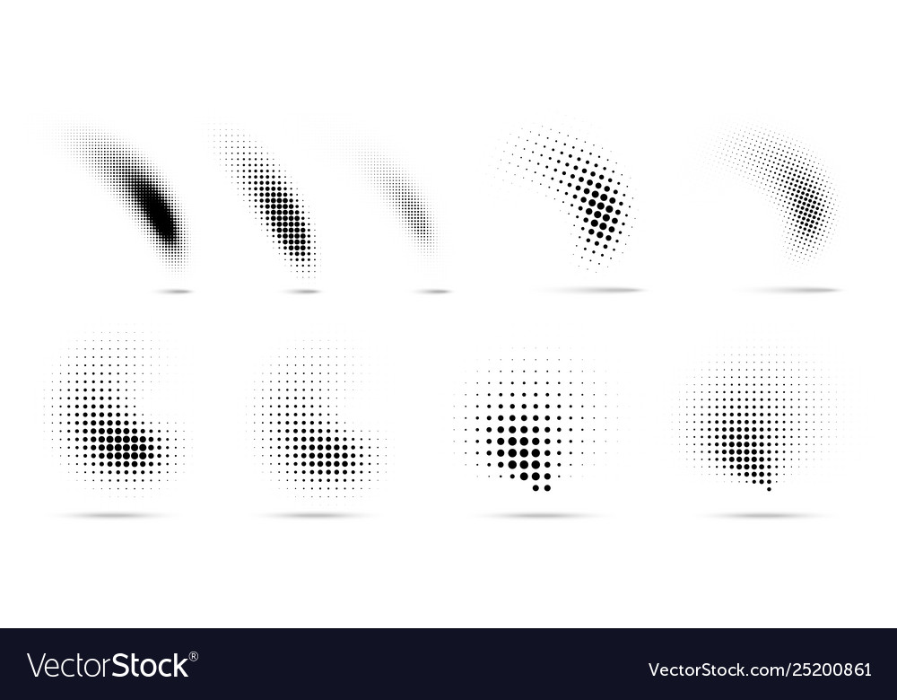 Set halftone dots curved gradient pattern