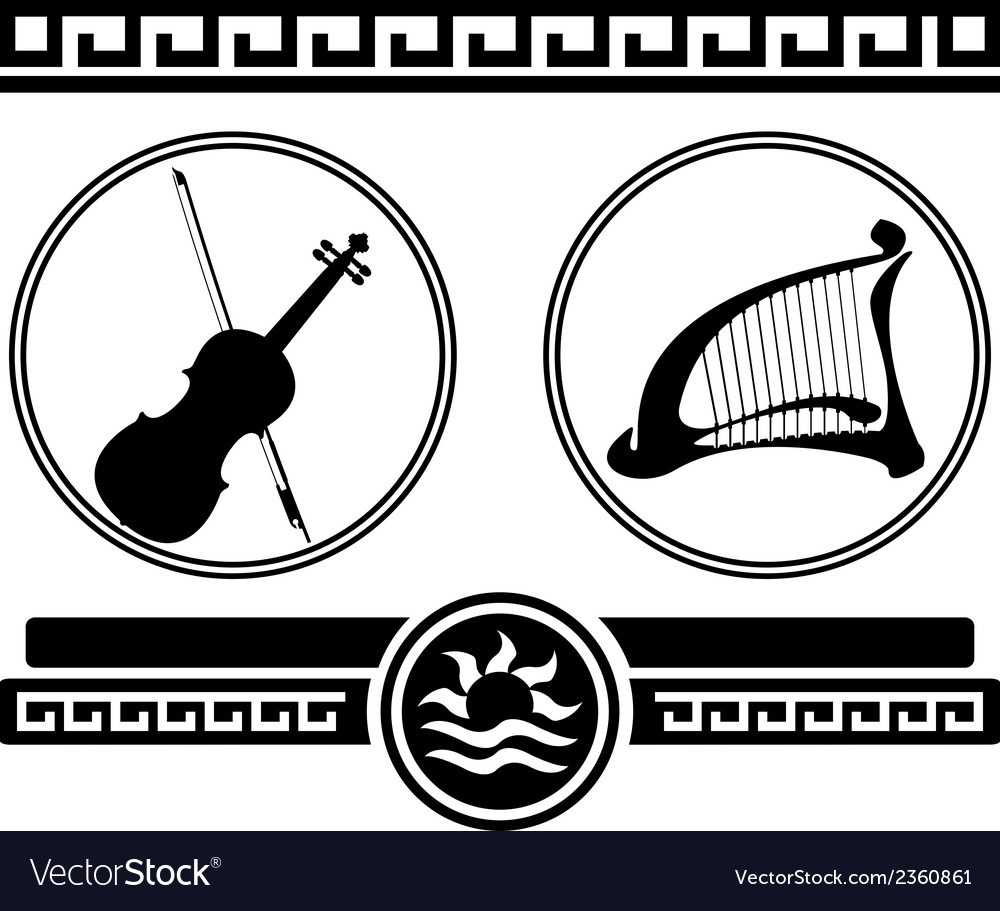 Silhouettes of violin and ancient harp