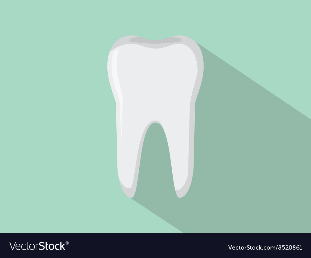 Tooth isolated with green background