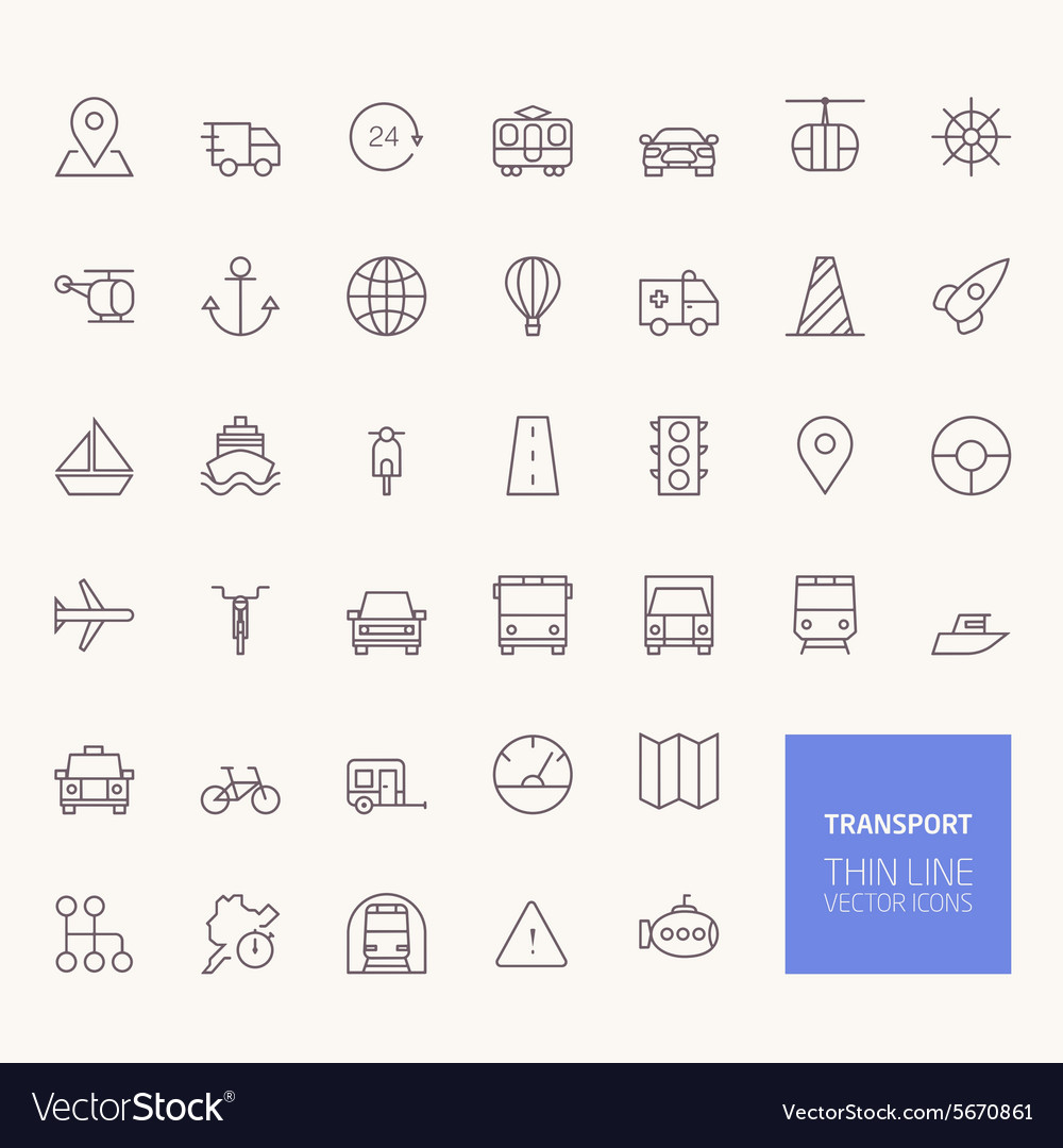 Transportation Outline Icons for web and mobile ap