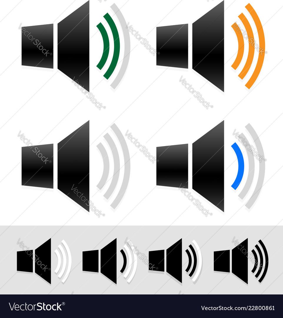 Volume sound level indicators with speaker icons