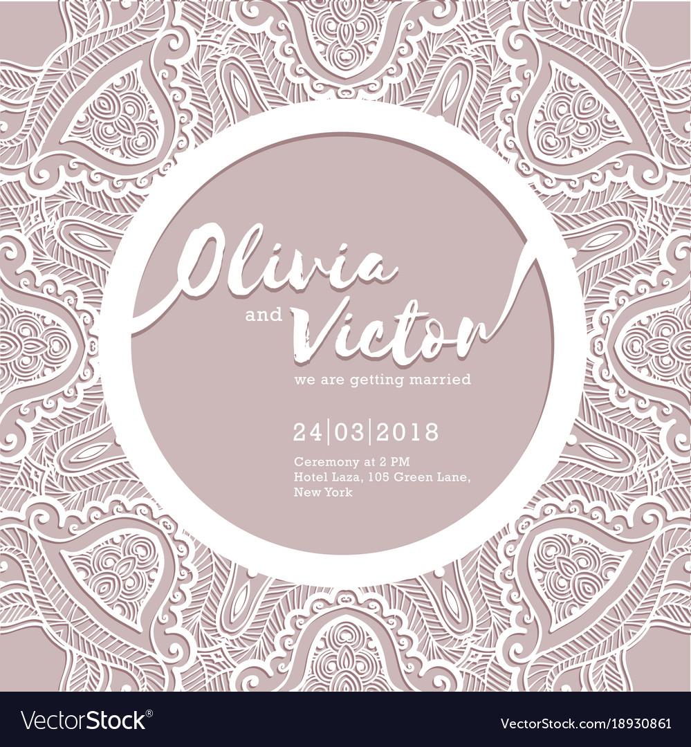 Wedding Invitation Card Laser Cut Pattern Vector Image