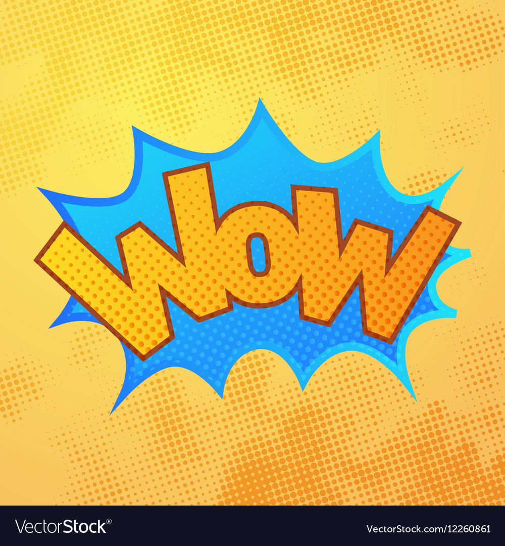 WOW comics sound effect with halftone pattern on