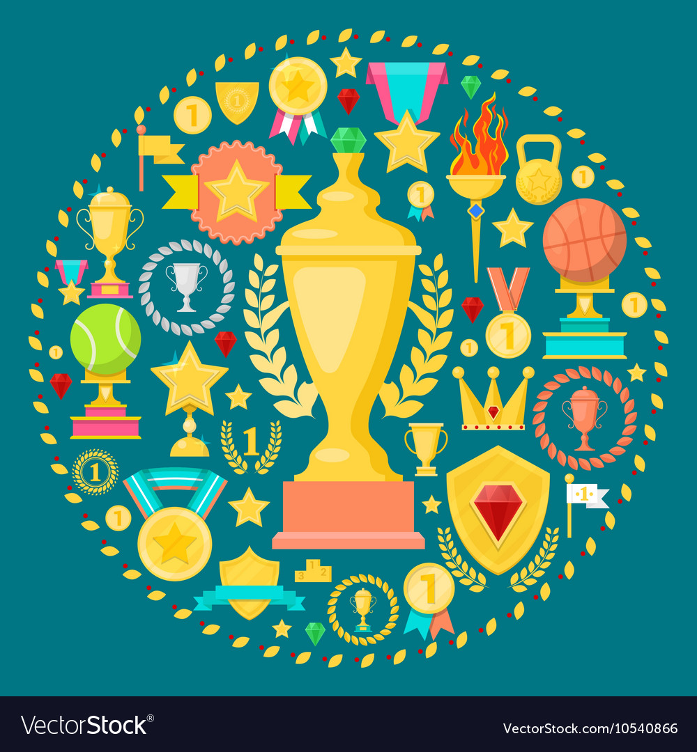 Awards and Trophy Icons with Cup Medal Prize