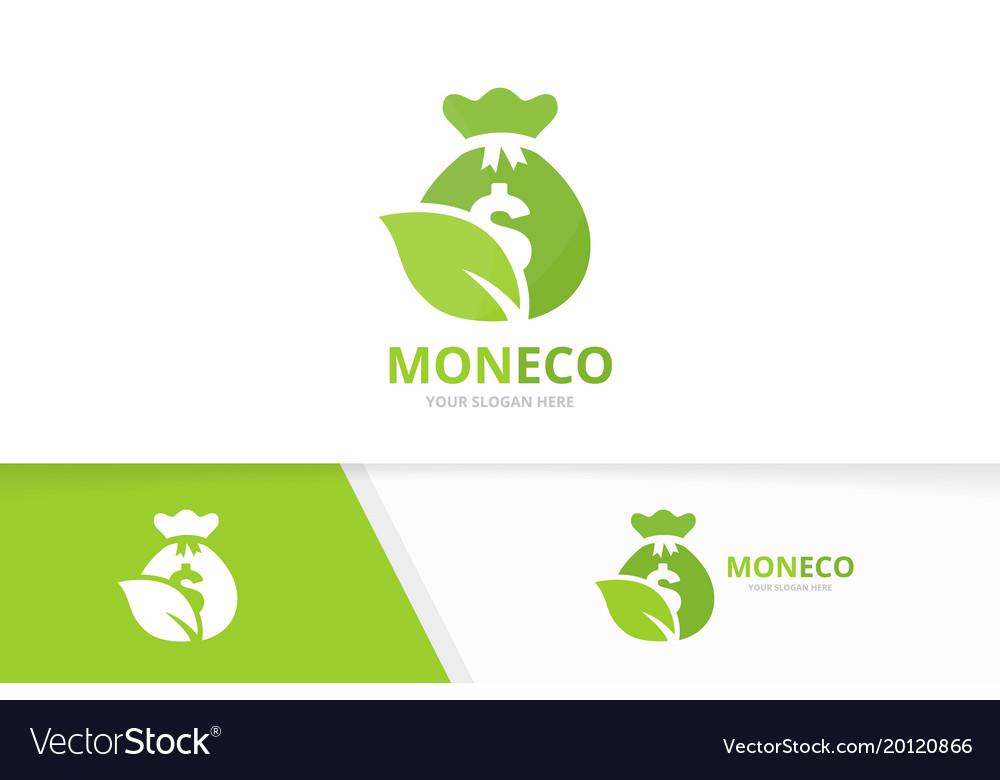 Bag and leaf logo combination sack and eco