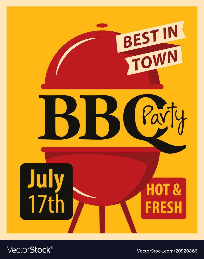 Banner bbq party with barbecues grill