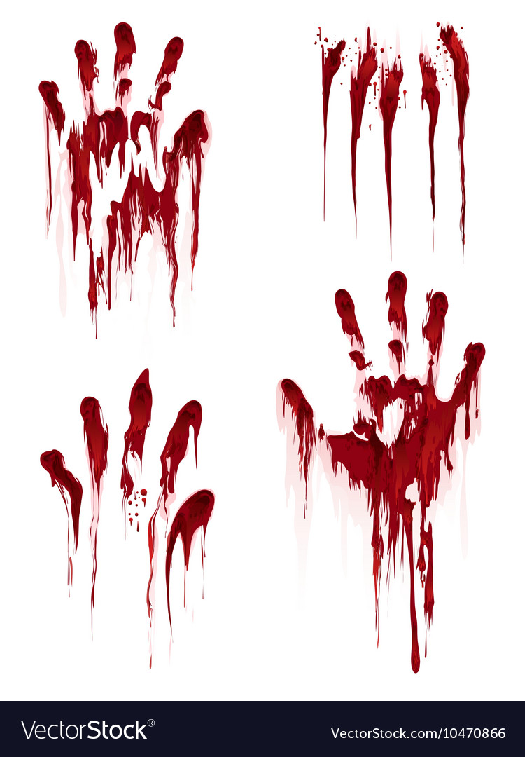 Bloody hand print on white background vector image