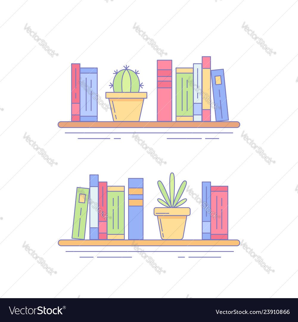Cactus succulent on bookshelf with books vector
