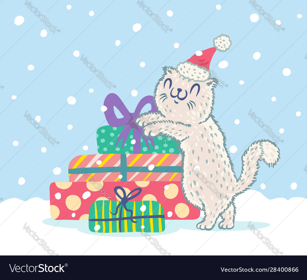 Cat in santa hat with presents