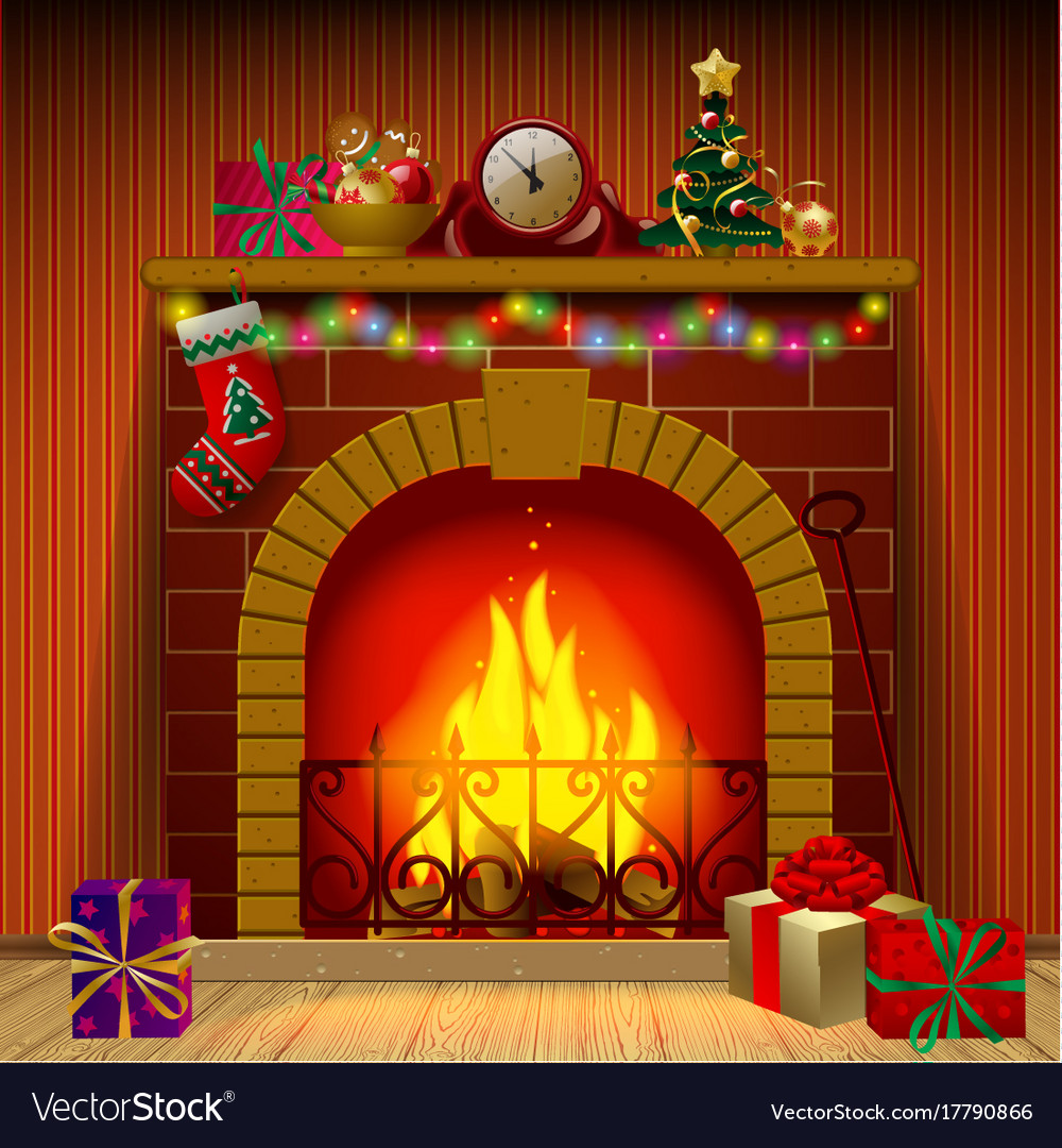 Christmas fireplace Royalty Free Vector Image - VectorStock