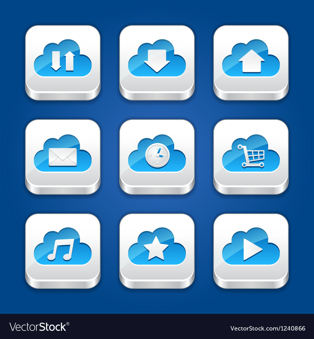 Collection of apps icons with clouds
