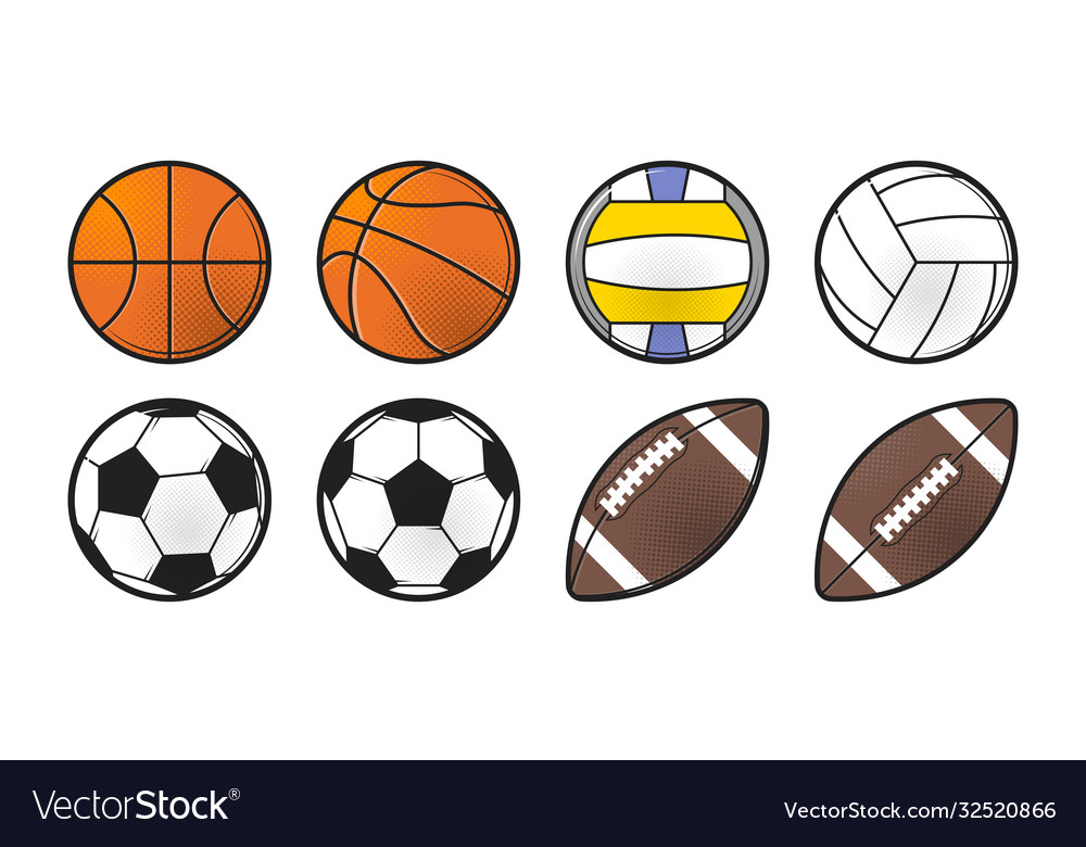 Collection sport balls line style icon design