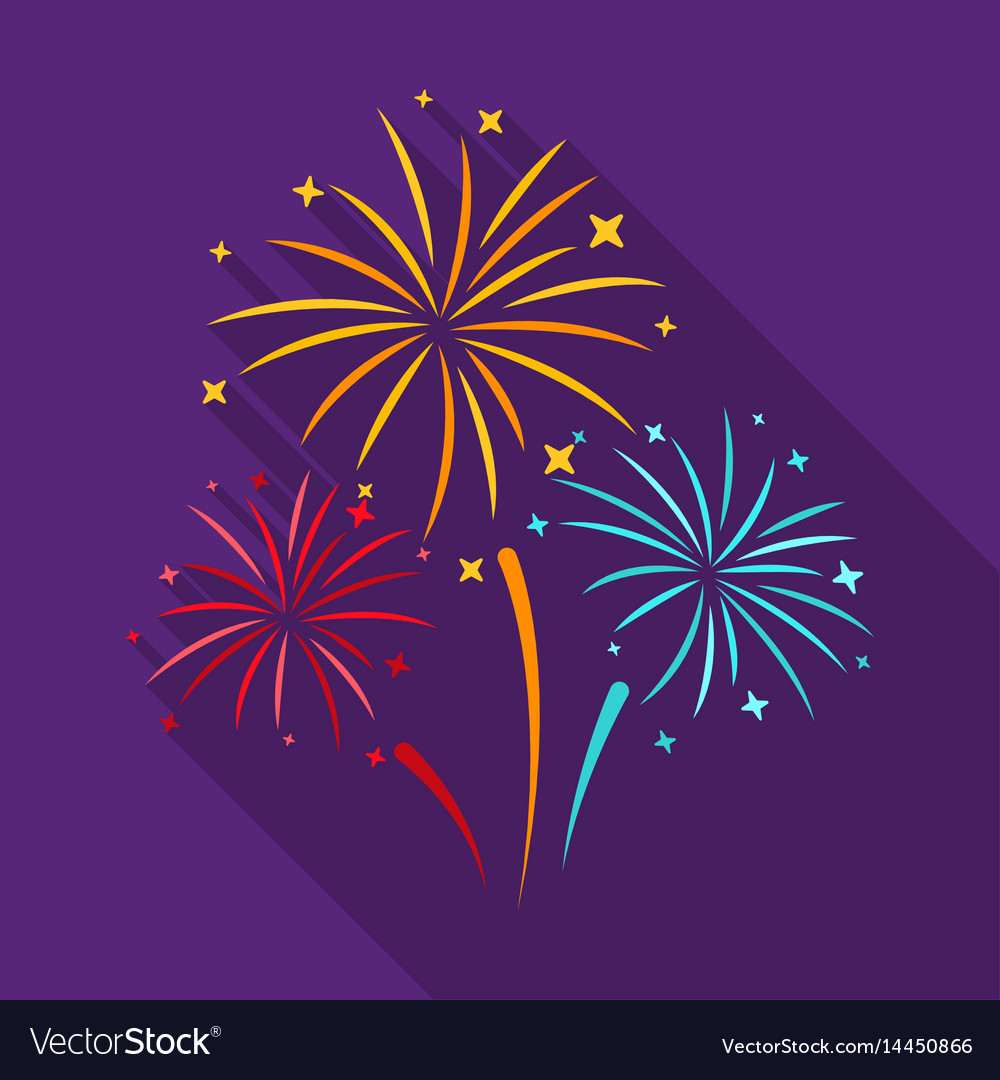 Colorful fireworks icon in flat style isolated on