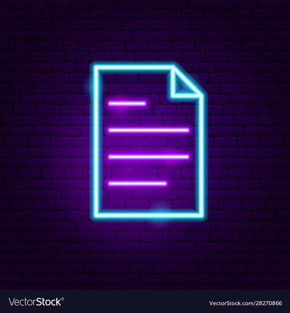 Document neon sign