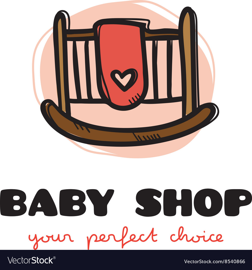 Funny doodle style baby bed logo sketchy
