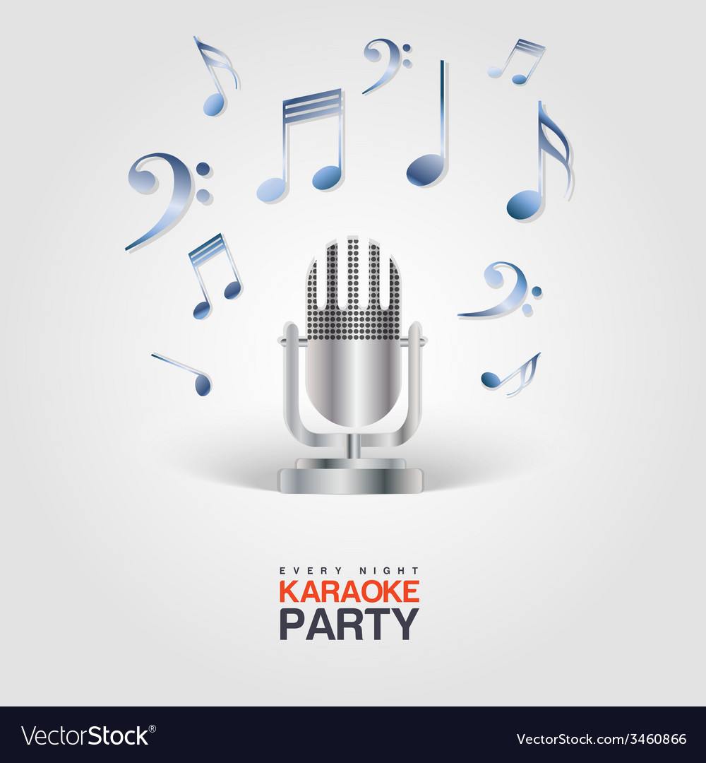 Karaoke Party poster with microphone and musical