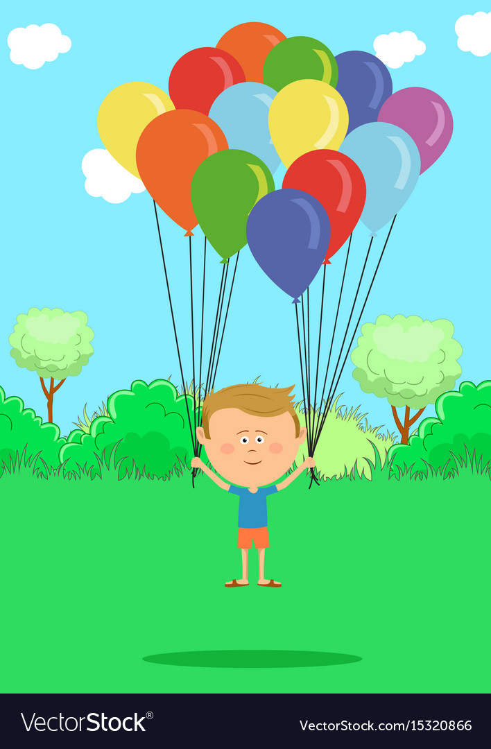 Little boy flying with multicolored balloons
