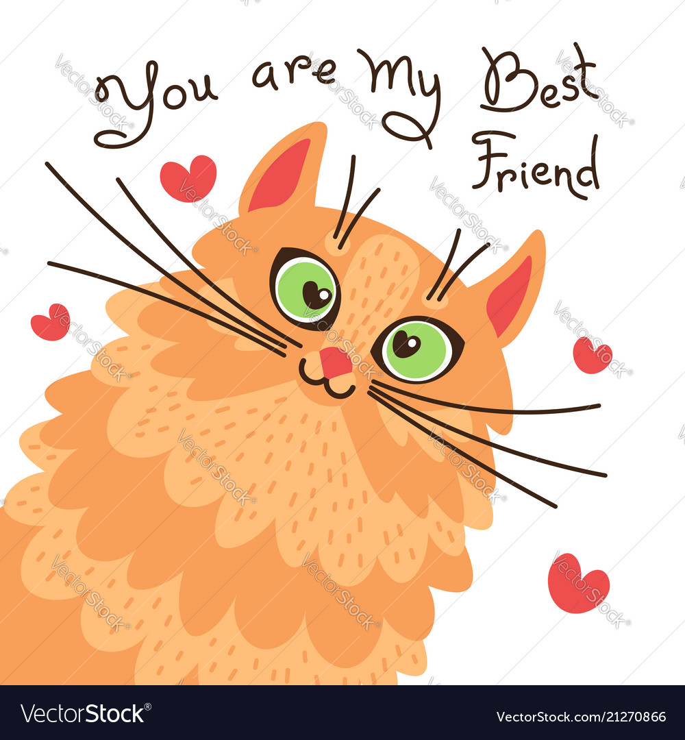 Red cat you are my best friend card with sweet