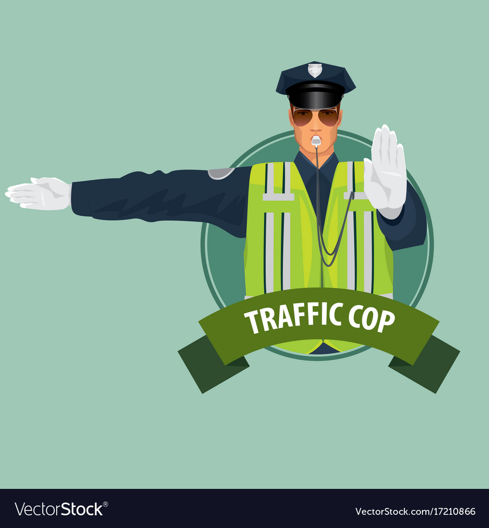 Round icon with officer of traffic police