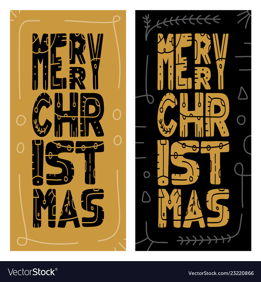 Set christmas giveaway cards with handwritten