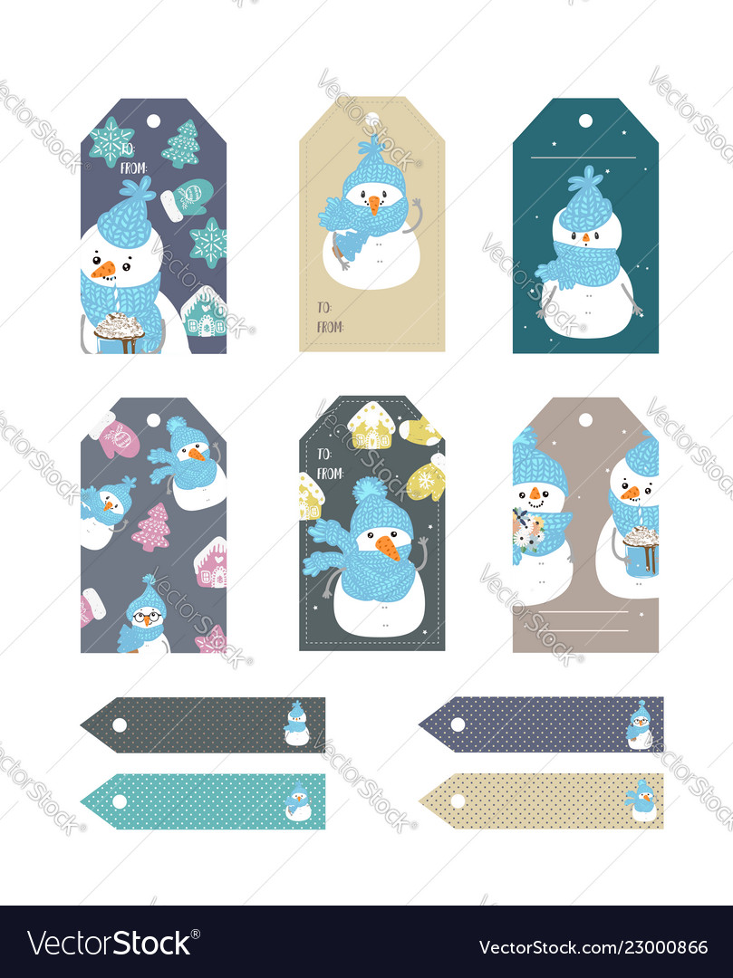 Set merry christmas and new year gift tags