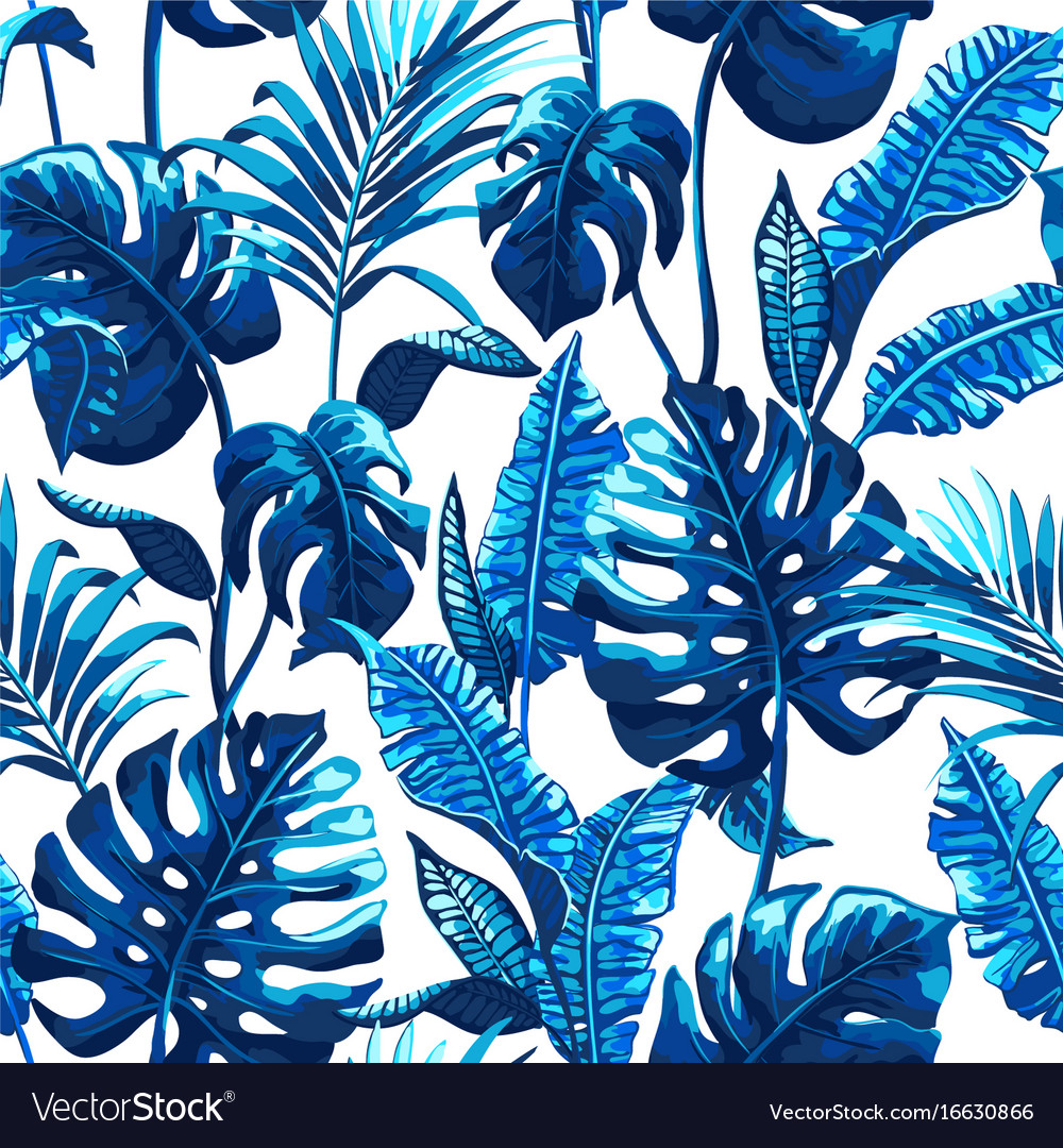 Tropical seamless pattern with palm leaves