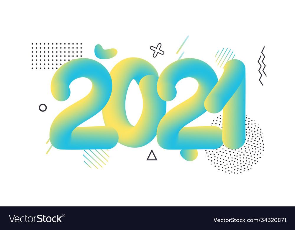 2021 happy new year hand drawn round geometric