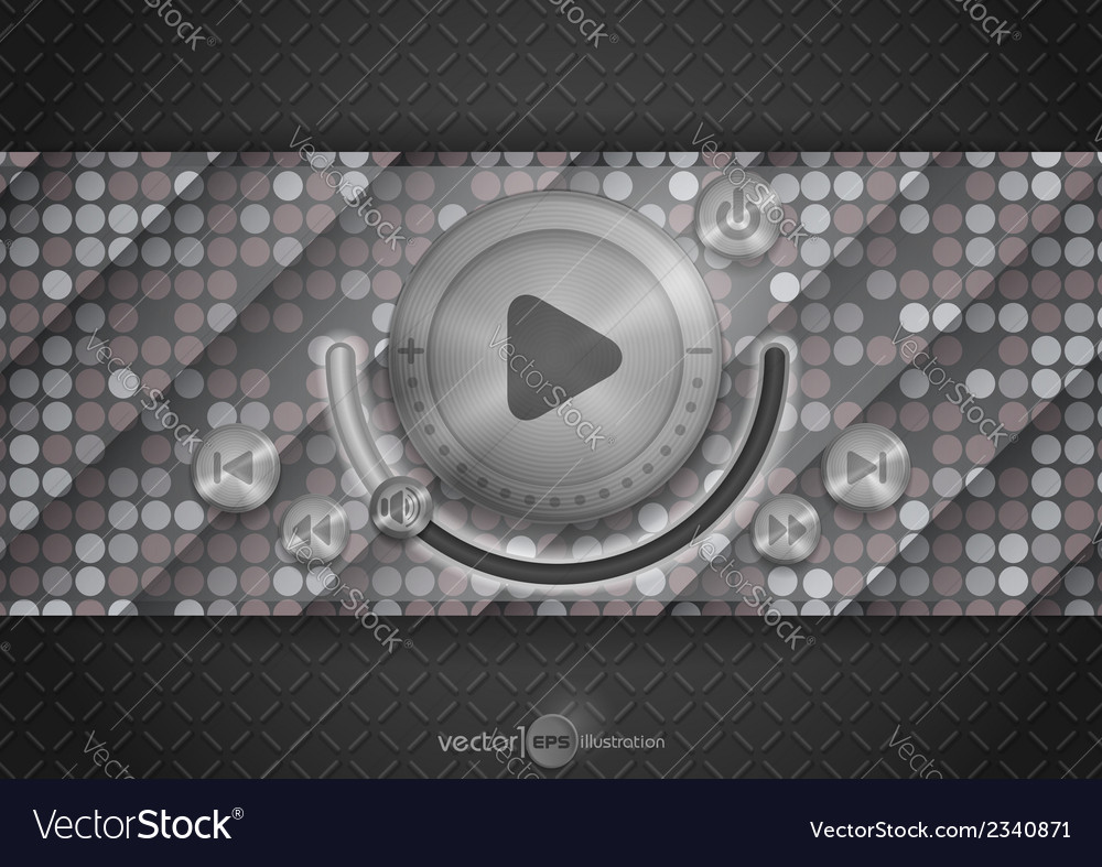 Abstract Technology App Icon With Music Button