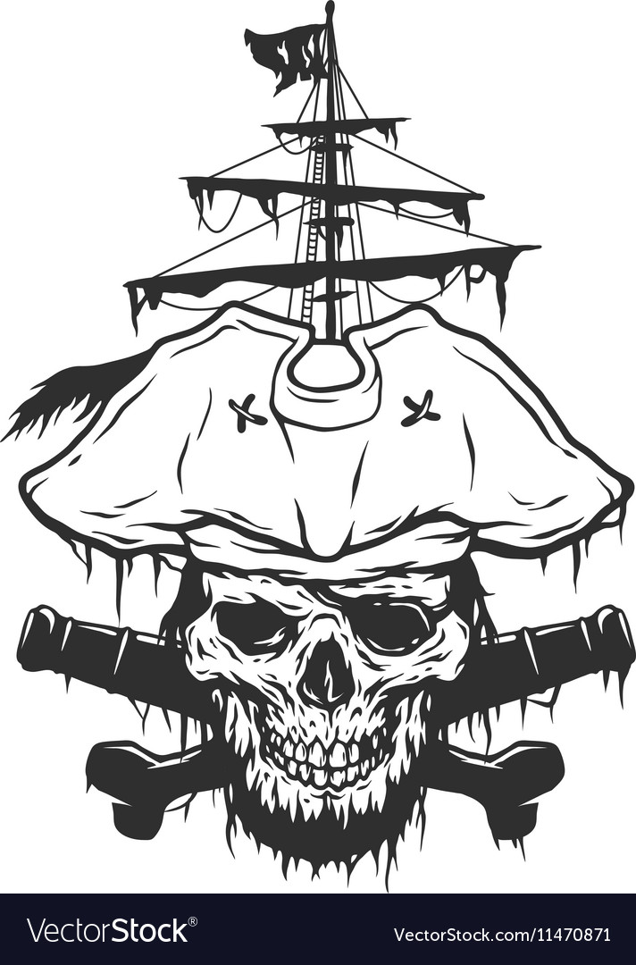 Captain skull on a background of pirate attributes
