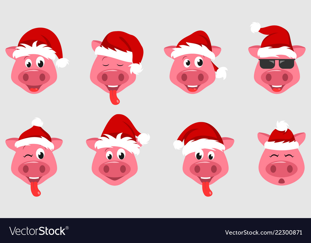 Collection christmas pigs with santa hats symbol