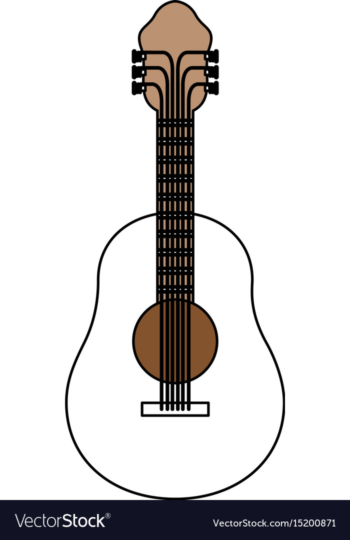 Color sections silhouette of acoustic guitar with