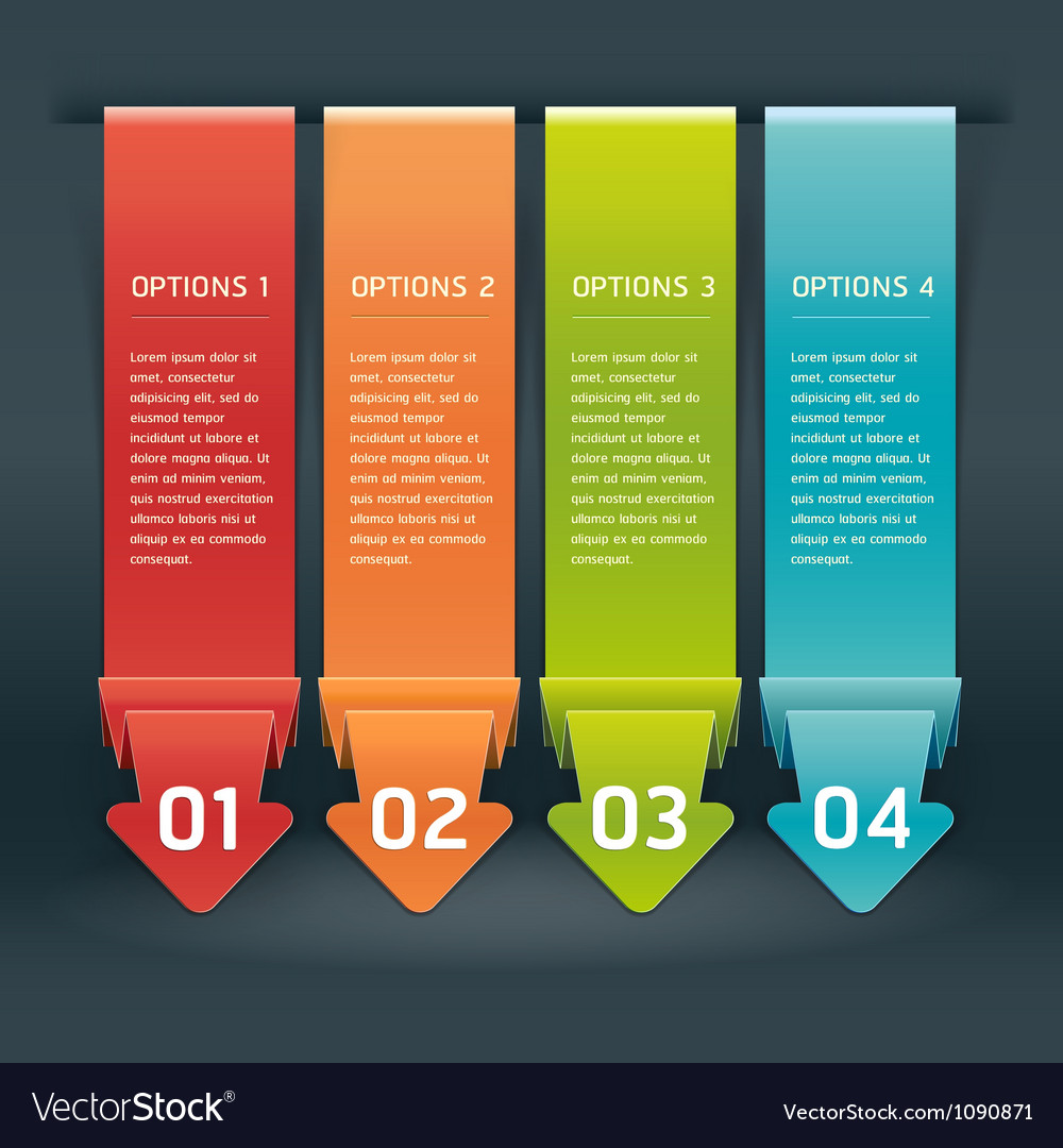 Colorful Origami Style Number Options Banner vector image
