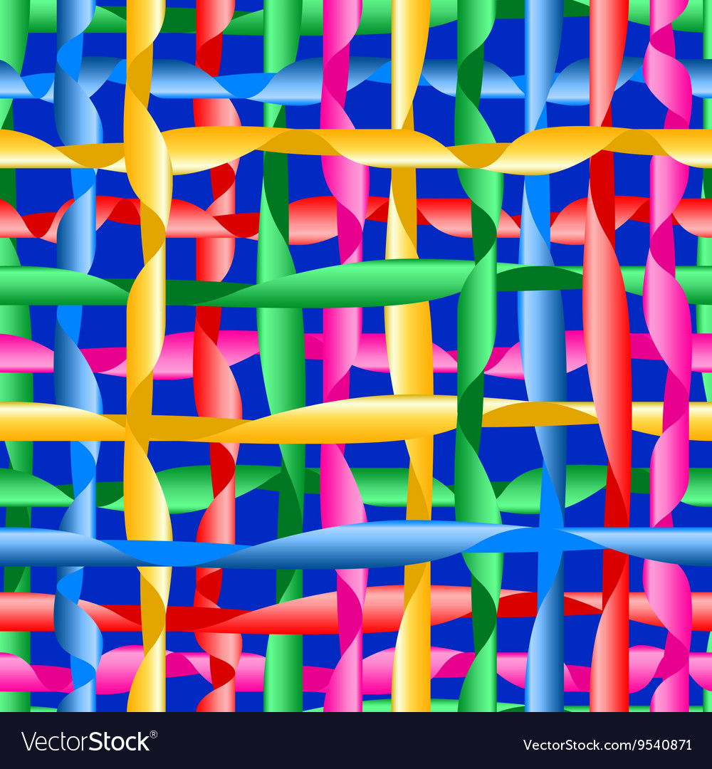 Colorful ribbons on blue background seamless