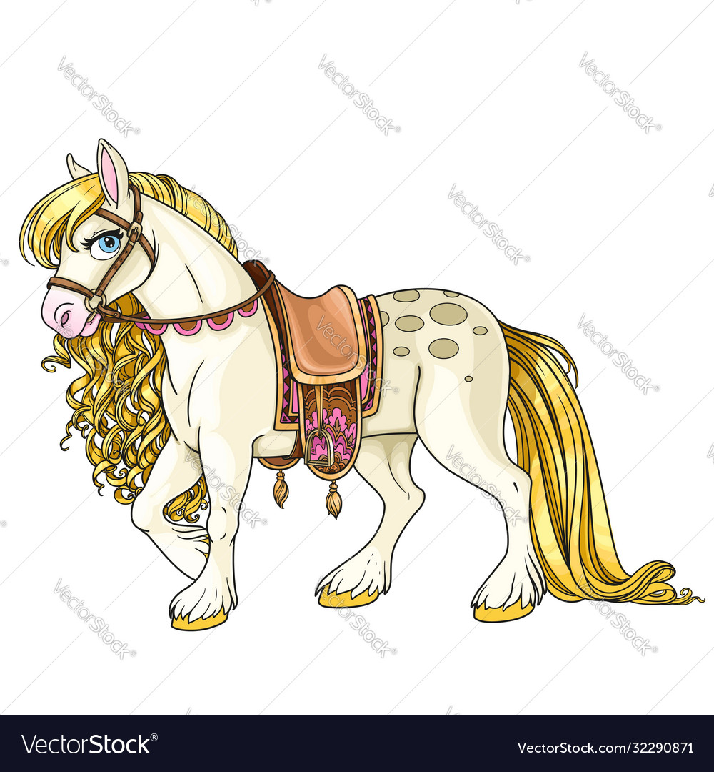Cute White Horse With Golden Mane Harnessed To A Vector Image