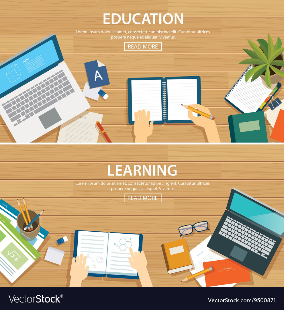 Education And Learning Banner Flat Design Template