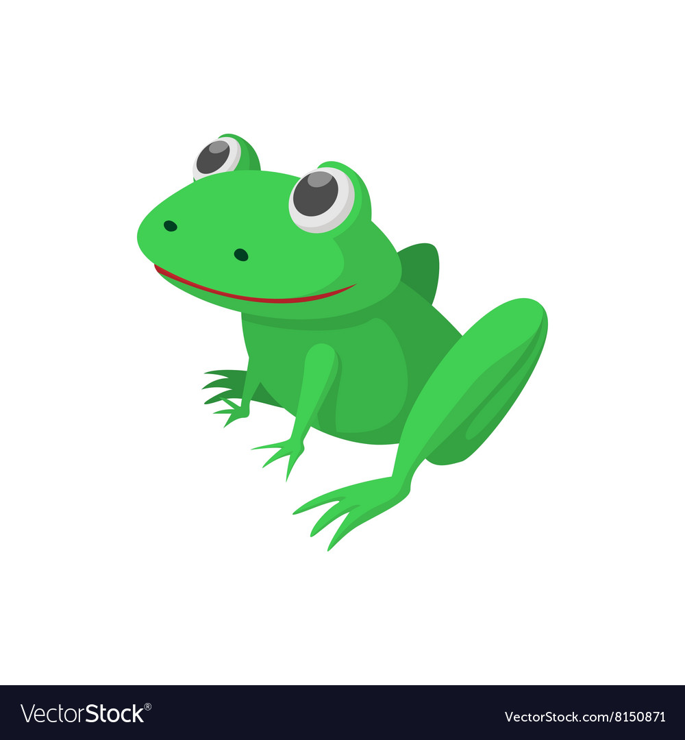 Frog icon cartoon style