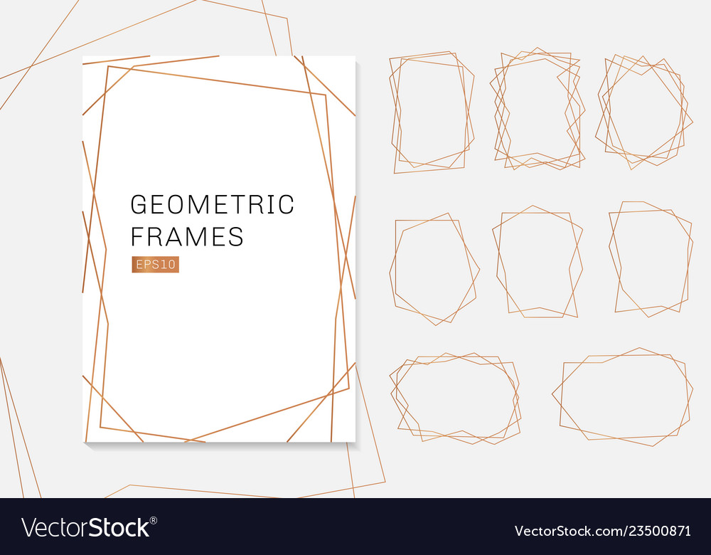 Gold geometric polyhedron frames collection