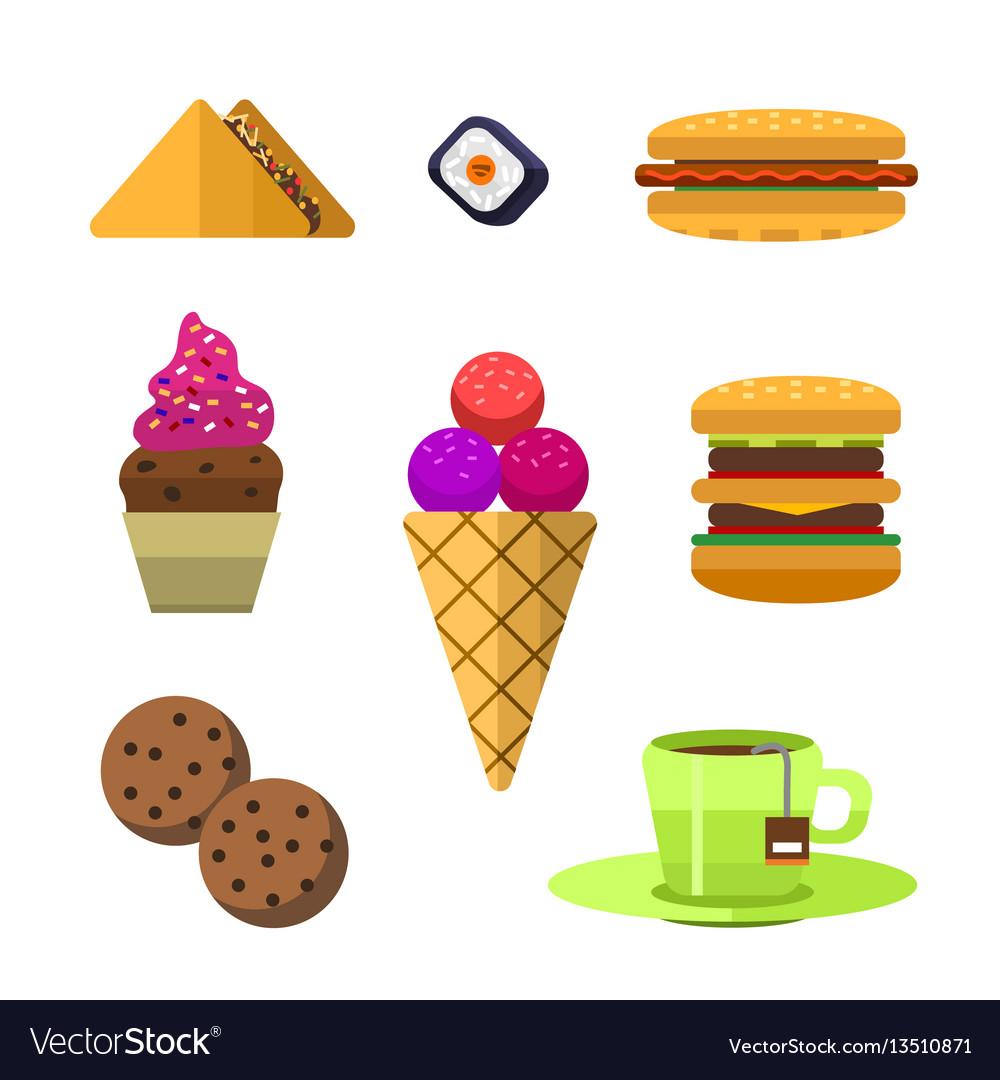 Icons sweet fast food elements