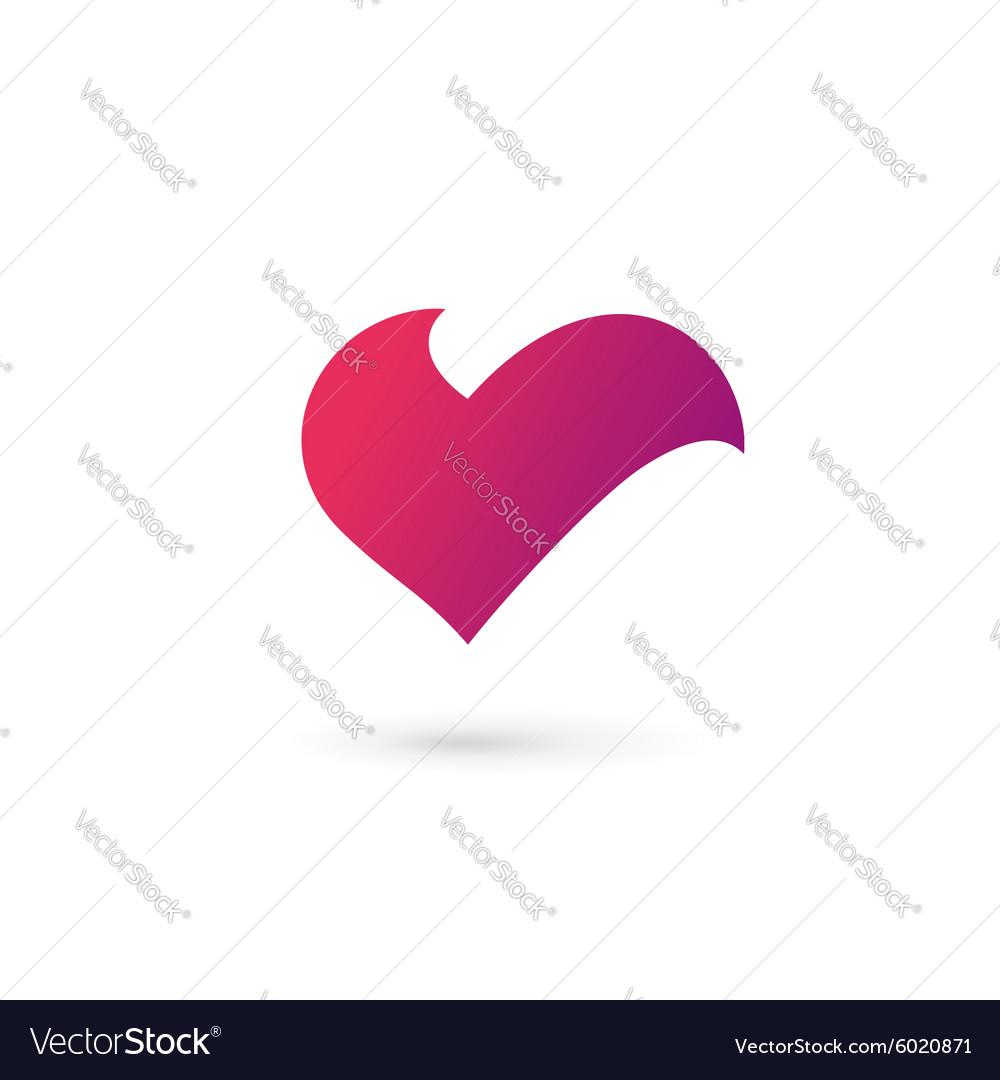 Letter V Heart Symbol Logo Icon Design Template Vector Image