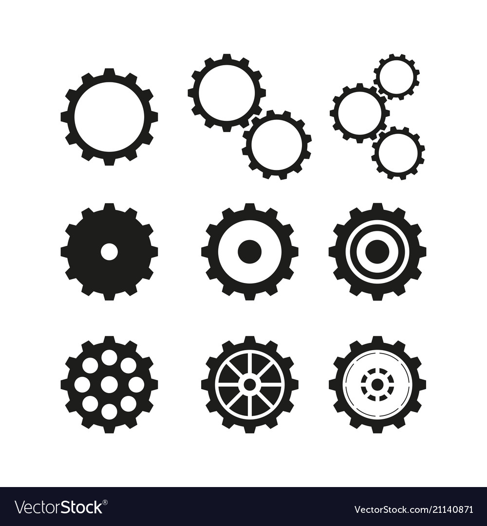 Set of cogwheels icons