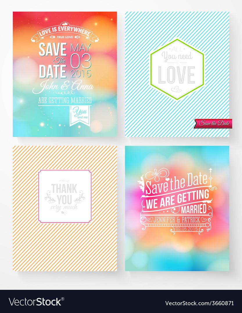 Set of wedding invitation templates vector image