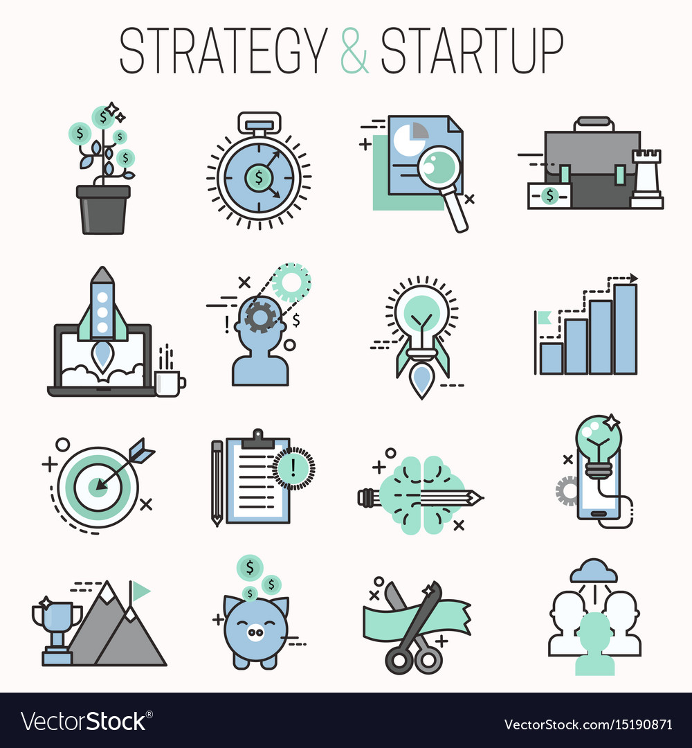 Startup and strategy outline web busines icon set