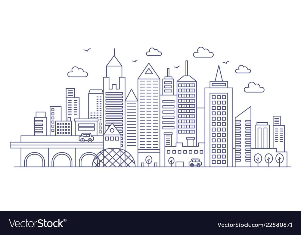 Thin line modern big city background urban