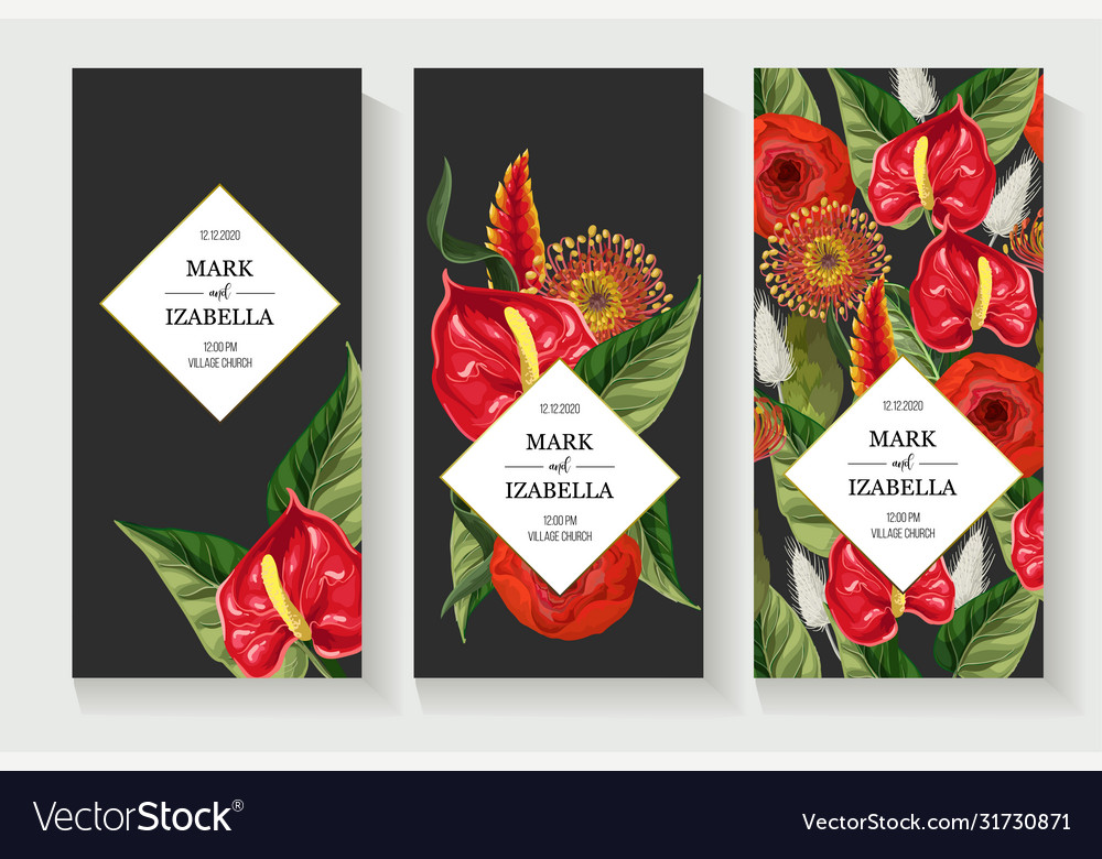 Wedding invitation with anthuriums and tropical