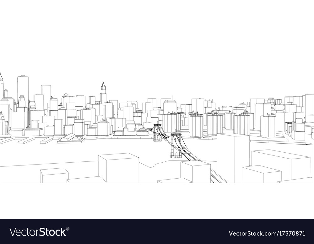 Wire frame new york city blueprint style vector image malvernweather Gallery