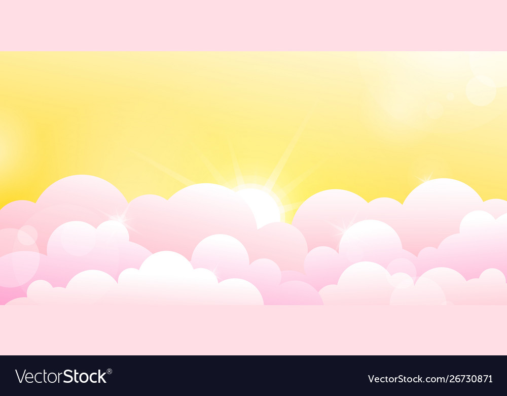 Yellow sky and rose clouds