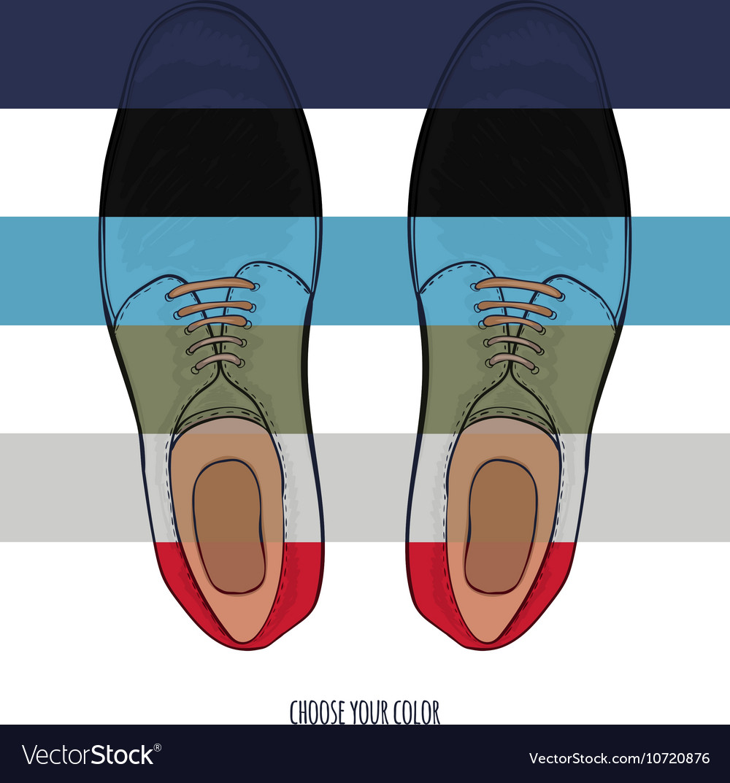 Advertising men shoes different colors Business