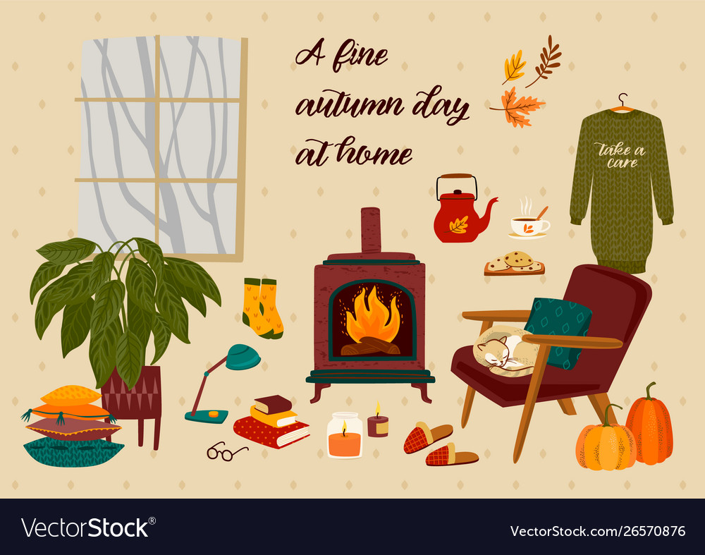 Autumn with homely cute things