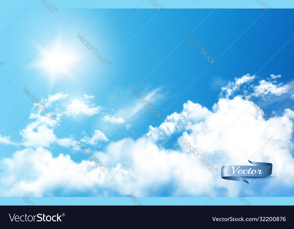 Blue sky nature background with white